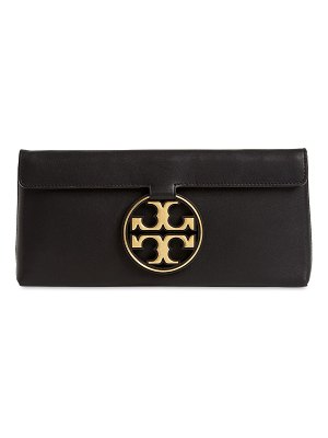 Tory Burch Miller metallic leather clutch