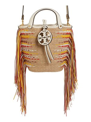 Tory Burch mini miller fringe woven twill bucket bag