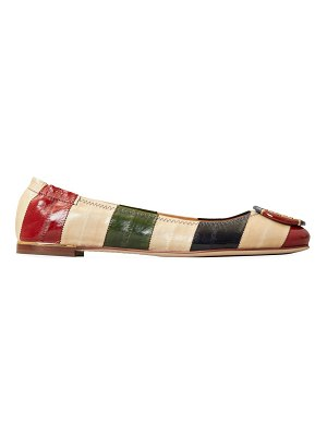 Tory Burch minnie colorblock stripe leather ballet flats