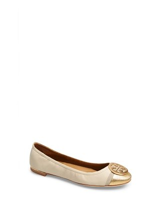 Tory Burch minnie logo medallion cap toe ballet flat