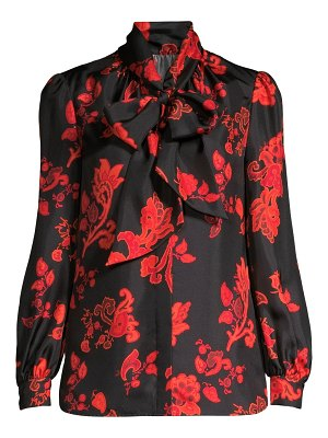 Tory Burch mountain printed tieneck silk blouse