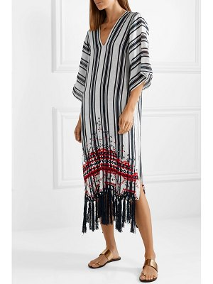 Tory Burch oversized embroidered striped linen-gauze kaftan