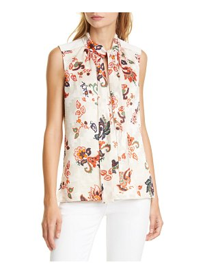 Tory Burch paisley print burnout tie neck top