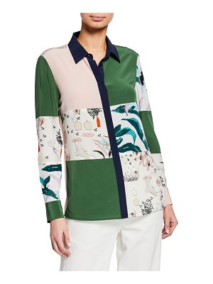 Tory Burch Patchwork Long-Sleeve Button-Down Silk Shirt