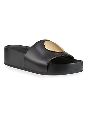 Tory Burch Patos Leather Slide Sandals