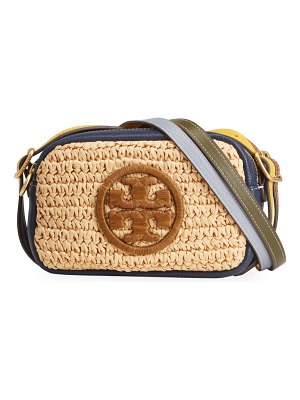 Tory Burch Perry Bombe Colorblock Straw Mini Crossbody Bag