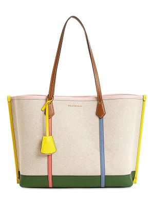 Tory Burch Perry leather & canvas tote bag