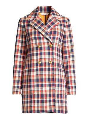 Tory Burch plaid jacquard double-breasted peacoat