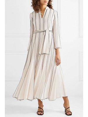 Tory Burch pleated embroidered silk-crepe gown
