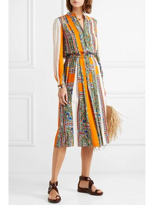 Tory Burch pleated printed voile midi dress