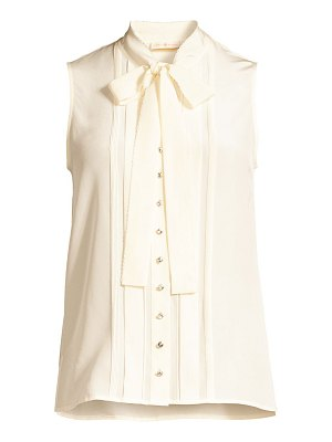 Tory Burch plissé-trim sleeveless tie-neck silk blouse