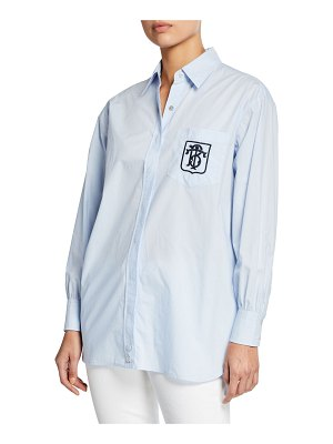 Tory Burch Poplin Button-Front Long-Sleeve Striped Back Shirt