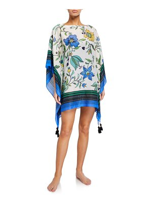 Tory Burch Printed Boat-Neck Short Beach Caftan