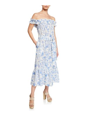 Tory Burch Printed Off-the-Shoulder Ruffle Midi Dress