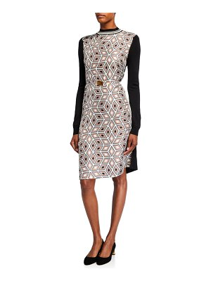 Tory Burch Printed Silk Front Long-Sleeve Sweater Back Dress