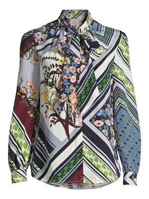 Tory Burch printed silk tieneck blouse