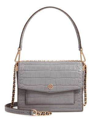 Tory Burch robinson croc embossed leather shoulder bag