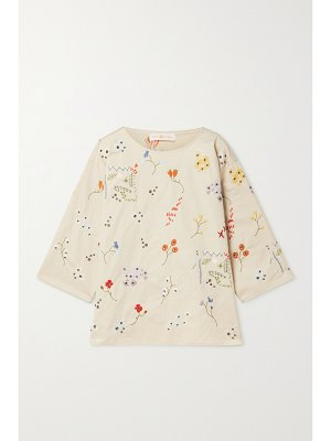Tory Burch robinson embellished cotton-twill top