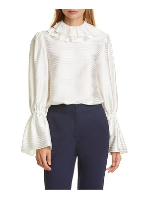 Tory Burch ruffle satin stripe blouse