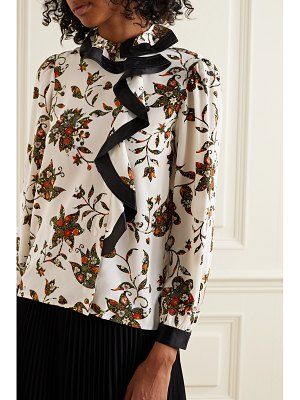 Tory Burch ruffled floral-print silk crepe de chine wrap blouse