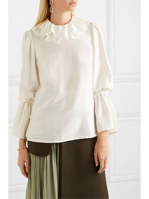 Tory Burch ruffled silk-blend satin-jacquard blouse