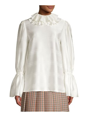 Tory Burch Satin Stripe Ruffle Collar Blouse
