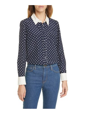 Tory Burch scalloped polka dot silk shirt