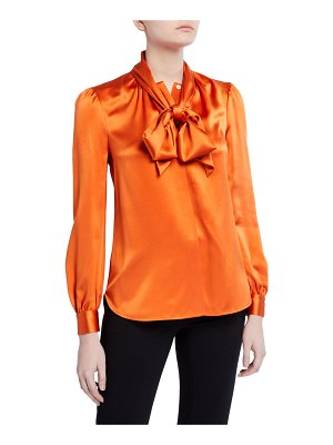 Tory Burch Silk Satin Long-Sleeve Bow Blouse