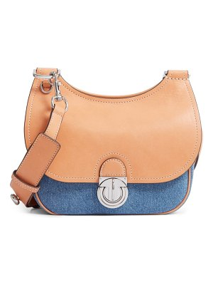 Tory Burch small james denim & leather saddle bag