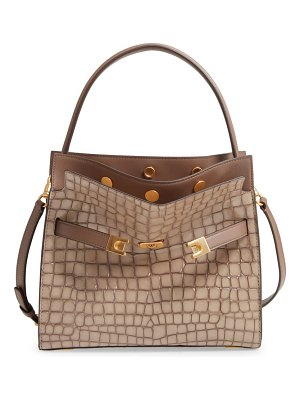Tory Burch small lee radziwill croc embossed leather double bag