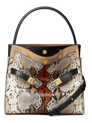 Tory Burch small lee radziwill snake embossed leather double bag