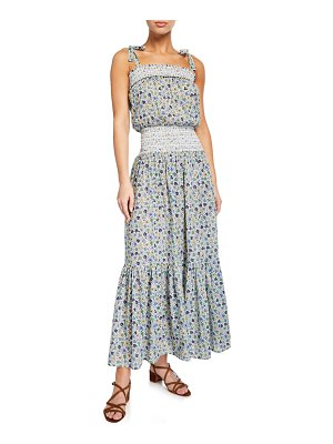 Tory Burch Smocked Floral-Print Coverup Dress