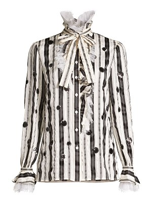 Tory Burch stripe bow sequin dot stretch-silk blouse