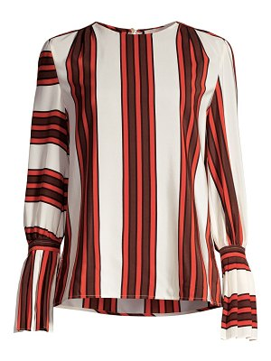 Tory Burch stripe flare-sleeve silk blouse