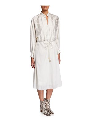 Tory Burch Striped Silk Satin Long-Sleeve Drawstring Dress