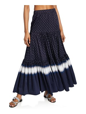 Tory Burch Striped Tiered Maxi Skirt