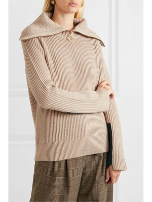 Tory Burch two-tone ribbed wool-blend sweater