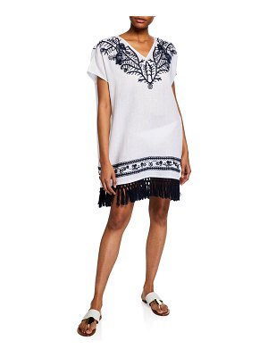 Tory Burch V-Neck Embroidered Beach Caftan w/ Tassel Hem