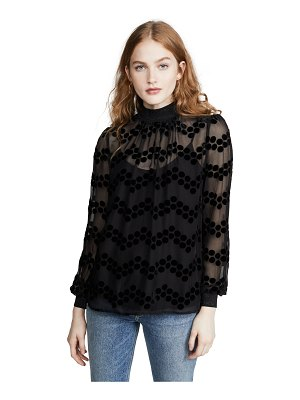 Tory Burch velvet devore dot embroidered top