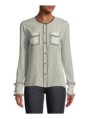Tory Burch Wendy Button-Front Long-Sleeve Striped Silk Blouse