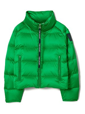 Tory Sport Cropped Quilted Puffer Performance Satin Down Jacket