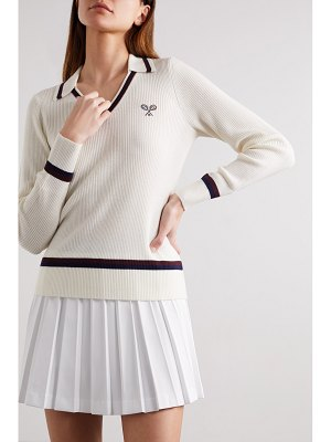 Tory Sport embroidered ribbed merino wool sweater