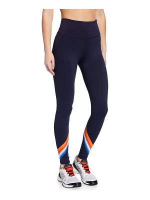 Tory Sport High-Rise Tempo Chevron 7/8 Leggings