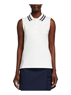 Tory Sport Performance Pique Pleated-Collar Sleeveless Polo Top
