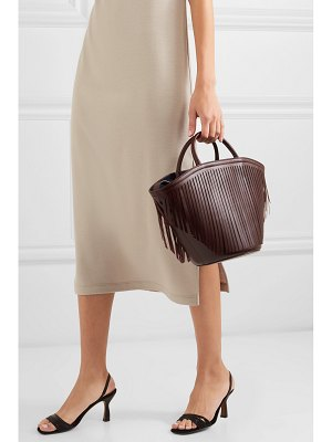 Trademark fringed leather tote