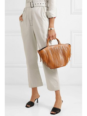 Trademark large fringed leather tote
