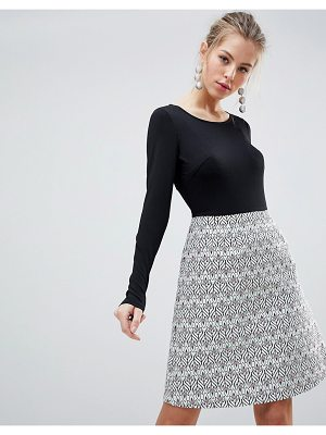 Traffic People Long Sleeve 2-in-1 Skater Dress With Printed Skirt