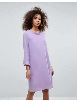 Traffic People Long Sleeve Shift Dress With Frill Detail