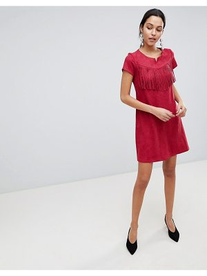 Traffic People Short Sleeve Shift Dress With Fringed Detail