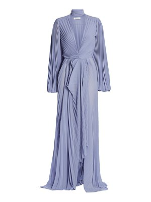 TRE by Natalie Ratabesi pleated chiffon plunging neck gown